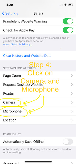 Telemedicine Appointment Step 4: Click on Camera and Microphone