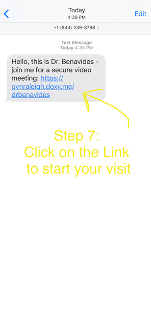 Telemedicine Appointment Step 7: Click on the Link to start your visit