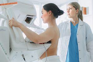 A patient undergoing mammogram screening