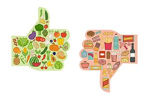 Healthy fresh vegetables and unhealthy junk food comparison to help breast health