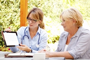 woman sitting in the garden with home health care nurse and consulting about GYN Wellness Screening
